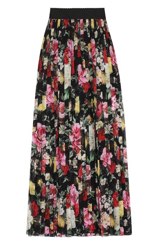 Купить Плиссированная шелковая юбка-макси с принтом Dolce & Gabbana, F4A9NT/HS1S7, Италия, Черный, Шелк: 100%;