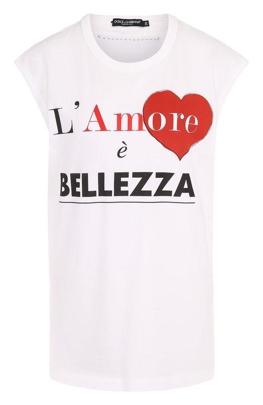 Купить Хлопковый топ свободного кроя с принтом Dolce & Gabbana, F8H93T/FH7MN, Италия, Белый, Хлопок: 100%;