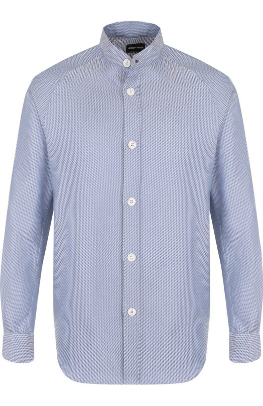 Хлопковая рубашка с воротником стойкой Giorgio Armani
