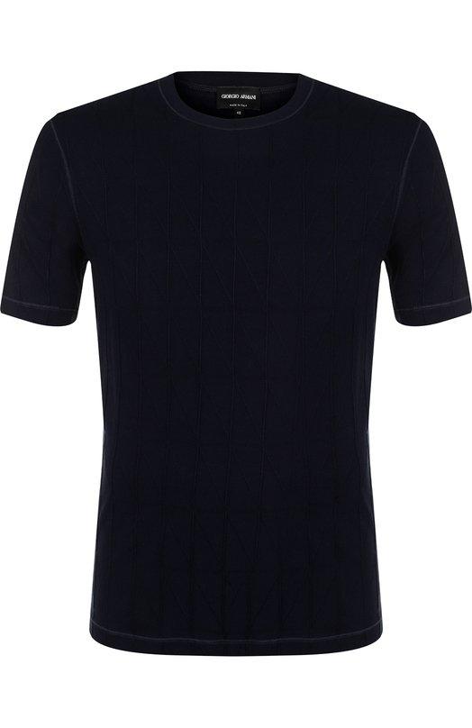 Купить Однотонная футболка с круглым вырезом Giorgio Armani, 3ZSM71/SJTAZ, Италия, Темно-синий, Вискоза: 97%; Эластан: 3%;
