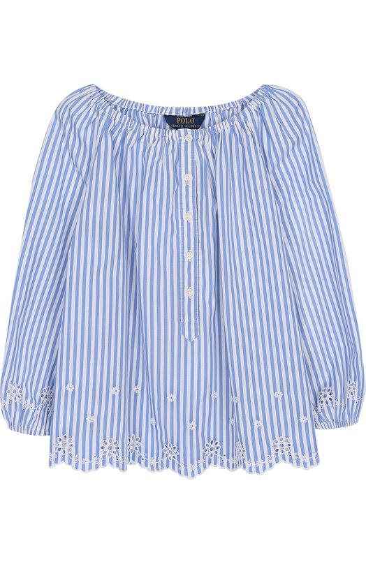 Купить Хлопковая блуза свободного кроя с вышивкой и фестонами Polo Ralph Lauren, 313688391, Индия, Голубой, Хлопок: 100%;
