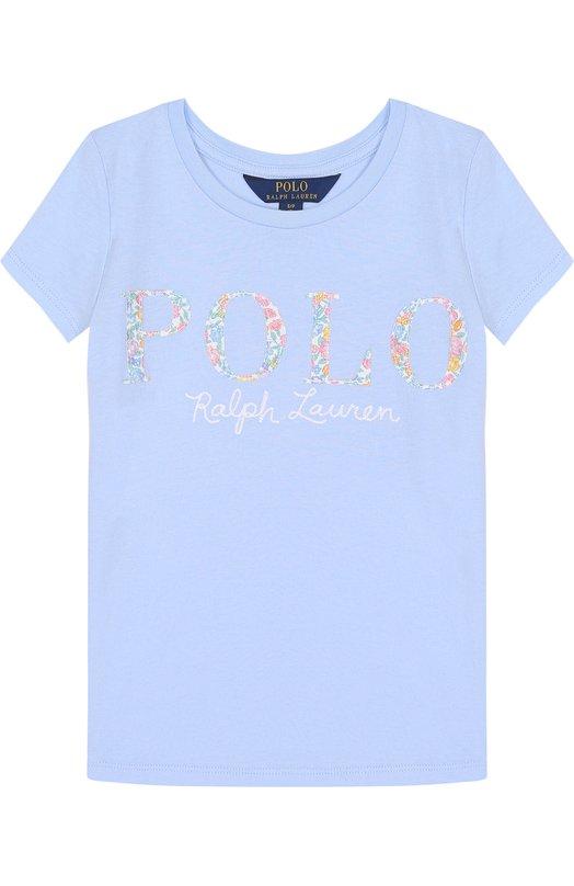Купить Хлопковая футболка с логотипом бренда Polo Ralph Lauren, 313688679, Китай, Голубой, Хлопок: 100%;