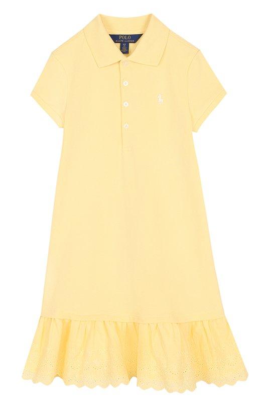Купить Хлопковое мини-платье с кружевной отделкой и оборкам Polo Ralph Lauren, 313688714, Китай, Желтый, Хлопок: 98%; Эластан: 2%;