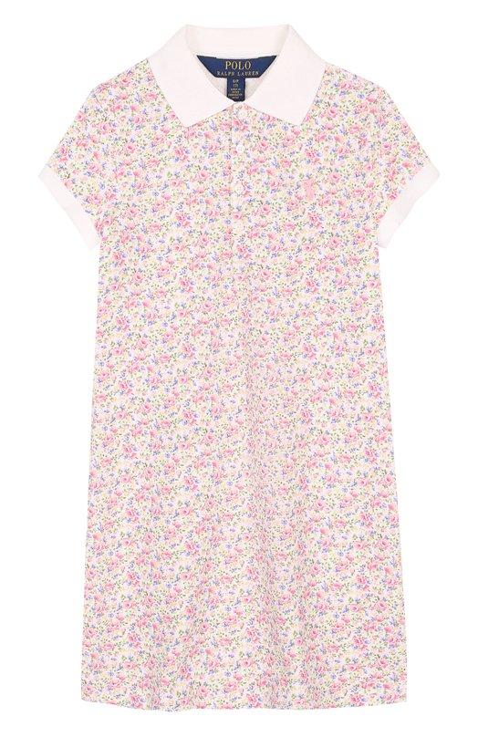 Хлопковое мини-платье с принтом Polo Ralph Lauren, 313692461, Китай, Разноцветный, Хлопок: 98%; Эластан: 2%;  - купить