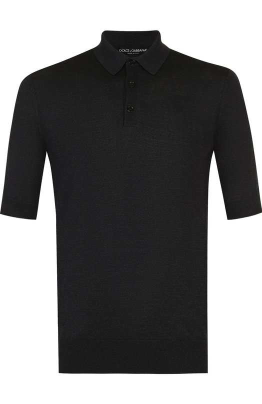 Купить Шелковое поло с короткими рукавами Dolce & Gabbana, GX085T/JASAE, Италия, Серый, Шелк: 100%;