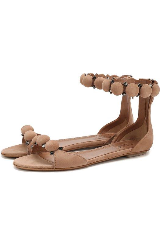Купить Замшевые сандалии с декором Alaia, 8S3X760CC16, Италия, Бежевый, Стелька-кожа: 100%; Подошва-кожа: 100%; Замша натуральная: 100%;