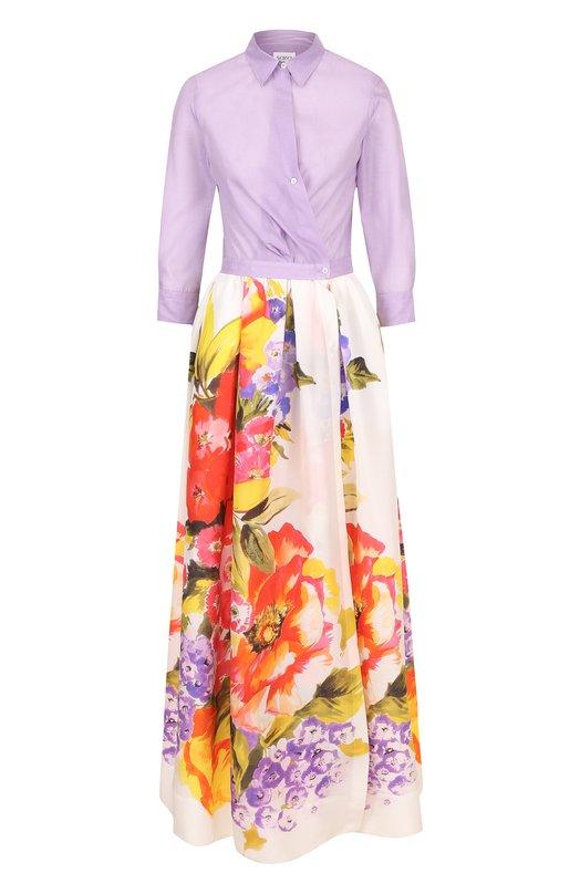 Купить Приталенное платье-рубашка с принтованной юбкой sara roka, JINNY L0NG/SS18-34, Италия, Разноцветный, Хлопок: 69%; Шелк: 31%;