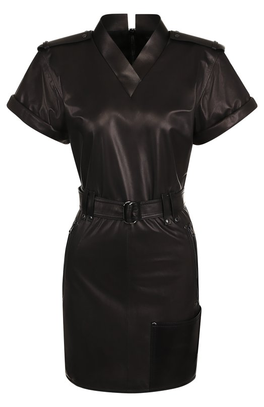 Купить Приталенное кожаное мини-платье Tom Ford, ABL052-LEX181, Италия, Черный, Подкладка-шелк: 94%; Подкладка-эластан: 6%; Кожа натуральная: 100%;