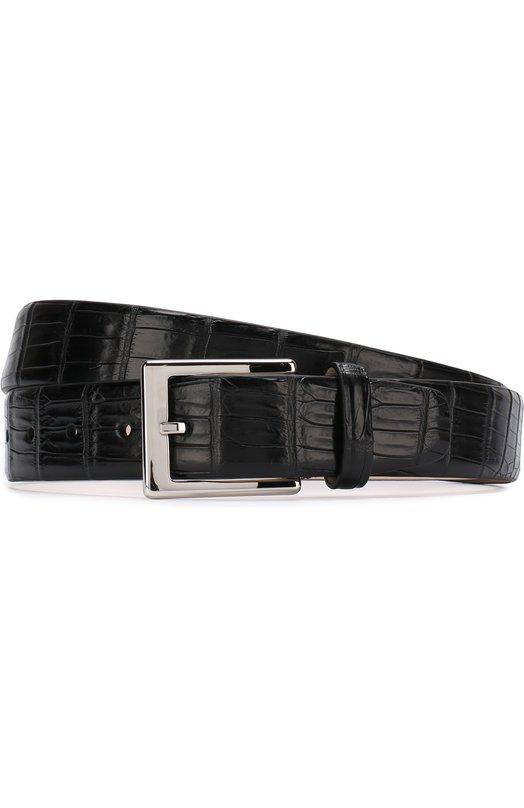 Купить Ремень из кожи крокодила с металлической пряжкой Dami, G0LD/CR0C0DILE DK, Италия, Черный, Кожа/крокодил/: 100%; Пряжка-мет.сплав: 100%;