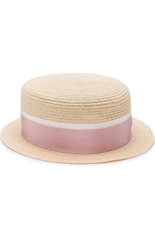 Купить Соломенная шляпа Auguste с лентой Maison Michel, 1011021003/AUGUSTE, Италия, Бежевый, Пенька: 90%; Хлопок: 7%; Вискоза: 3%; Солома: 100%;