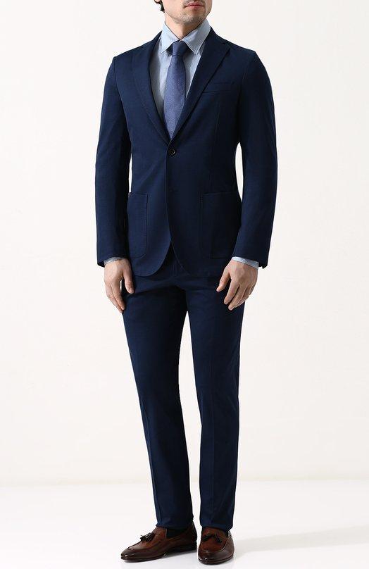 Купить Хлопковый костюм с пиджаком на двух пуговицах Loro Piana, FAI1370, Италия, Темно-синий, Хлопок: 100%;