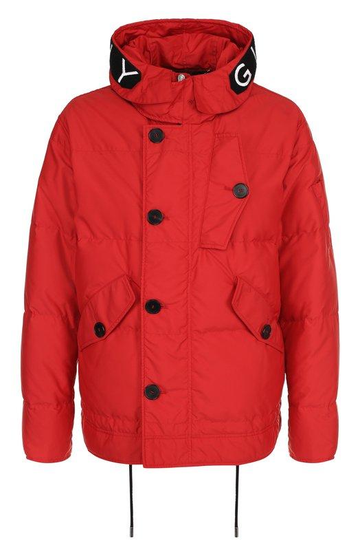 Купить Пуховая куртка на молнии с капюшоном Givenchy, BM000E1023, Турция, Красный, Отделка-шерсть: 97%; Пух: 90%; Отделка-эластан: 3%; Полиамид: 100%; Подкладка-полиэстер: 100%; Перо: 10%;