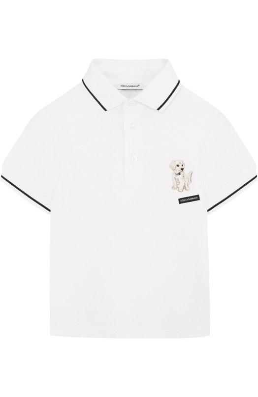Купить Хлопковое поло с нашивкой Dolce & Gabbana, L4JT6K/G7MNF/2-6, Италия, Белый, Хлопок: 100%;