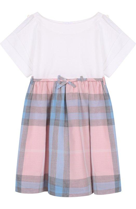 Купить Хлопковое мини-платье с принтом Burberry, 4068646, Таиланд, Разноцветный, Хлопок: 100%; Подкладка-хлопок: 100%;