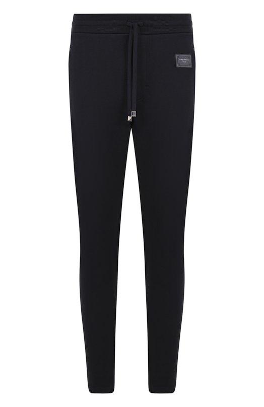 Купить Хлопковые брюки и поясом на кулиске Dolce & Gabbana, GYE9AT/FU7DU, Италия, Темно-синий, Хлопок: 100%;