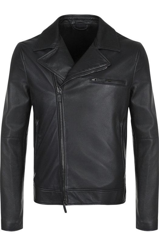 Купить Кожаная куртка с косой молнией Giorgio Armani, WSR13P/WSP24, Италия, Синий, Подкладка-ацетат: 68%; Подкладка-полиэстер: 32%; Кожа натуральная: 100%;