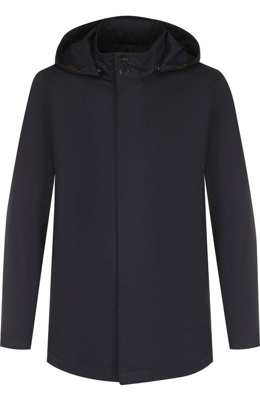 Купить Куртка на молнии с капюшоном Ermenegildo Zegna, UPT13/PR16, Румыния, Темно-синий, Эластан: 7%; Хлопок: 53%; Полиэстер: 40%; Отделка кожа натуральная: 100%;