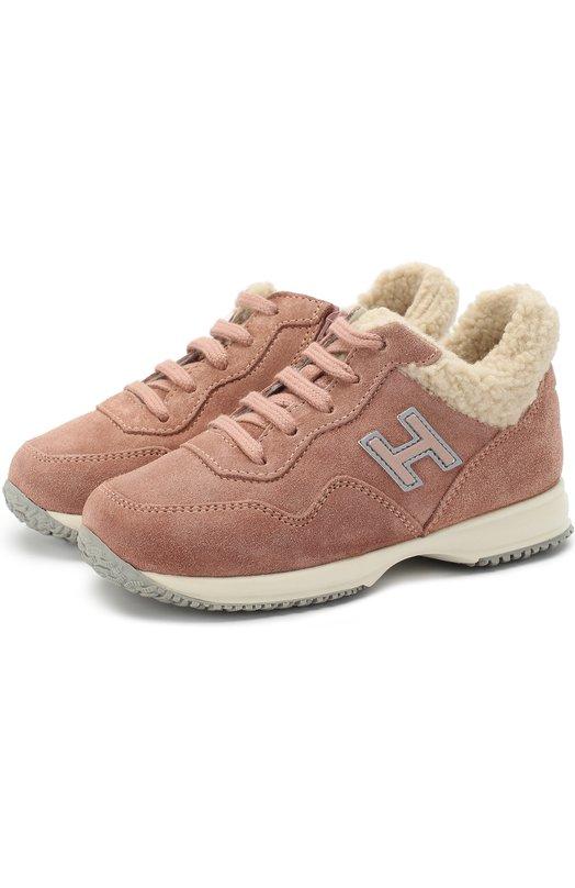 Купить Утепленные замшевые кроссовки Hogan, HXT0920J7909VI649E, Италия, Розовый, Подошва-резина: 100%; Замша натуральная: 100%; Стелька-мех искусств.: 100%;