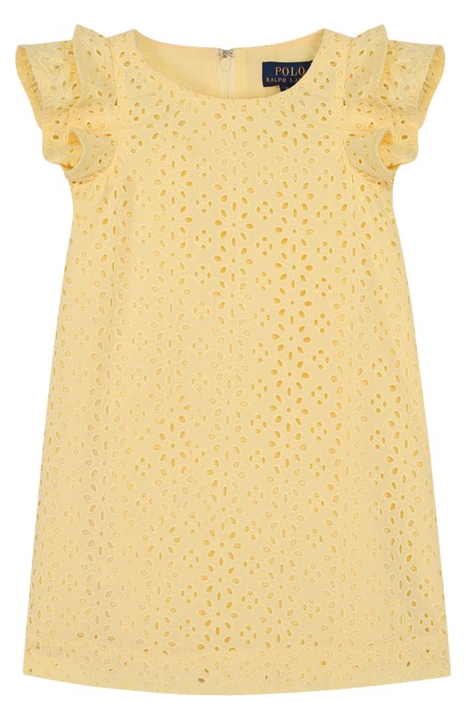 Хлопковое мини-платье с кружевной отделкой и оборками Polo Ralph Lauren, 311688447, Индия, Желтый, Хлопок: 100%; Подкладка-хлопок: 100%;  - купить