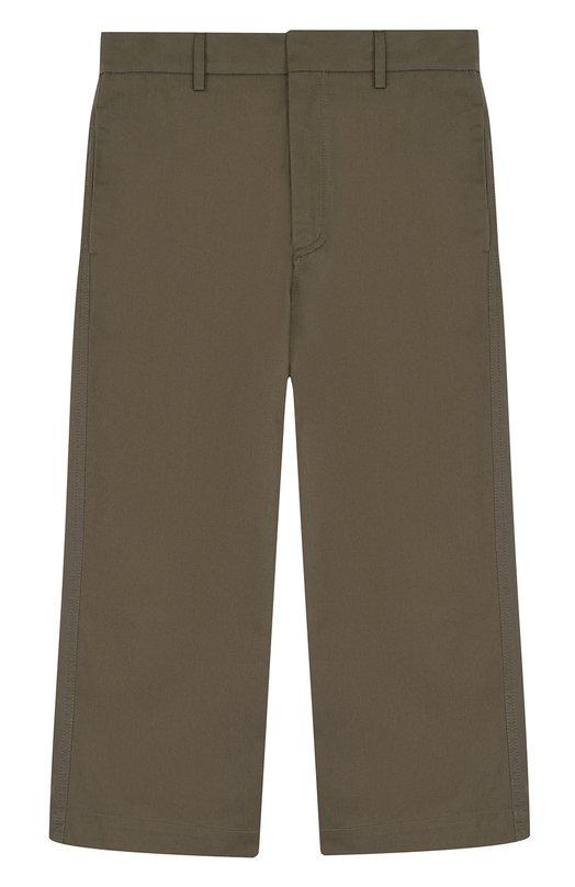 Купить Укороченные брюки из хлопка прямого кроя Marni, M0017V-M00BF, Тунис, Хаки, Хлопок: 100%;