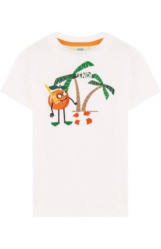Купить Хлопковая футболка с принтом Fendi, JMI186/7AJ/2A-5A, Португалия, Белый, Хлопок: 100%;