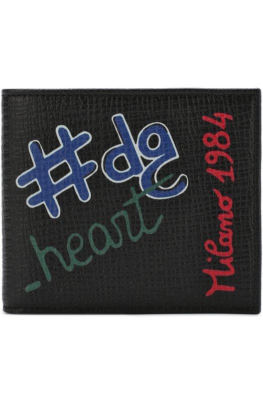 Купить Кожаное портмоне с отделениями для кредитных карт и принтом Dolce & Gabbana, BP1321/AH426, Италия, Черный, Кожа натуральная: 100%;