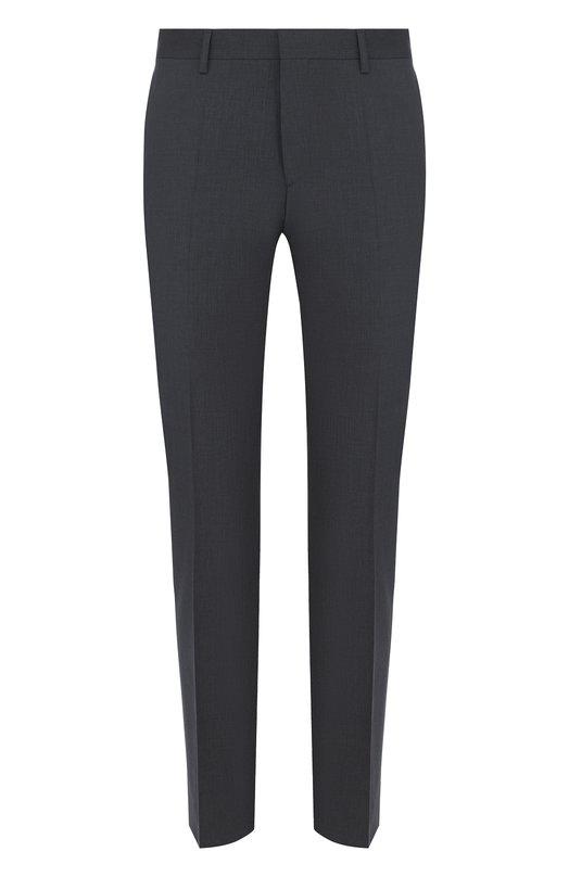 Купить Шерстяные брюки прямого кроя BOSS, 50385201, Турция, Темно-серый, Шерсть: 100%;