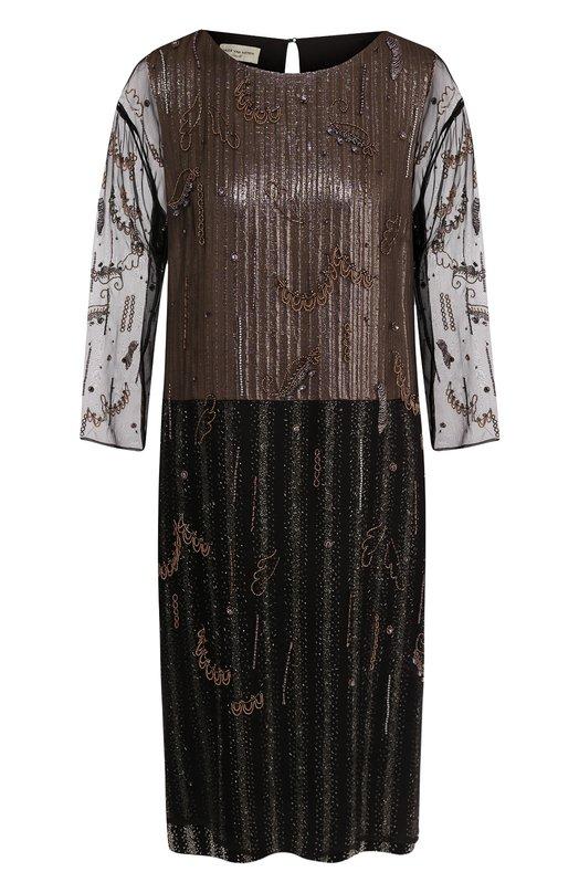 Купить Шелковое платье свободного кроя с длинным рукавом Dries Van Noten, 181-31052-5328, Бельгия, Черный, Шелк: 100%;