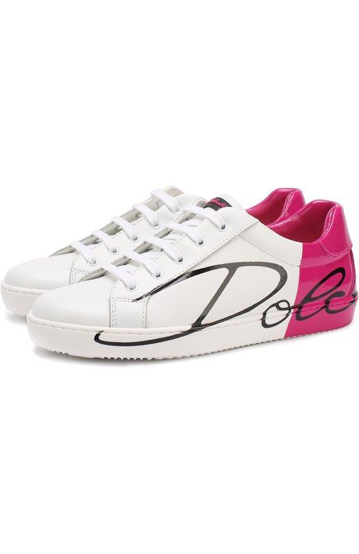 Купить Кожаные кеды на шнуровке с контрастной отделкой Dolce & Gabbana, D10602/AI053/29-36, Италия, Фуксия, Кожа натуральная: 100%; Стелька-кожа: 100%; Подошва-резина: 100%;