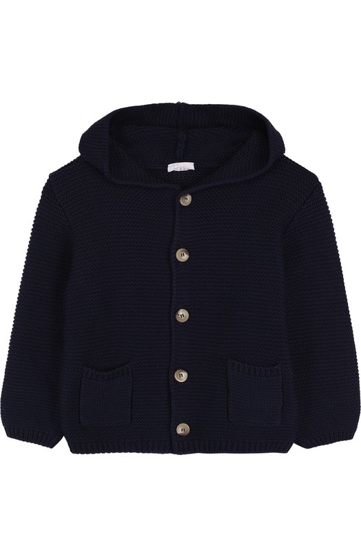 Купить Хлопковый кардиган на пуговицах с капюшоном Il Gufo, P18GF250EM600/2A-4A, Италия, Темно-синий, Хлопок: 100%;