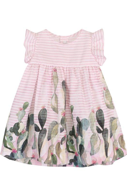 Купить Хлопковое платье свободного кроя с принтом Il Gufo, P18VM431C4035/12M-18M, Румыния, Розовый, Хлопок: 100%;