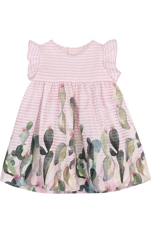 Купить Хлопковое платье свободного кроя с принтом Il Gufo, P18VM431C4035/3M-9M, Румыния, Розовый, Хлопок: 100%;