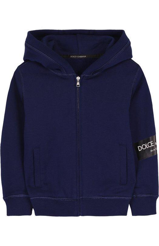 Купить Хлопковый кардиган на молнии с капюшоном Dolce & Gabbana, L4JW2L/G7MZ0/2-6, Италия, Синий, Хлопок: 100%;