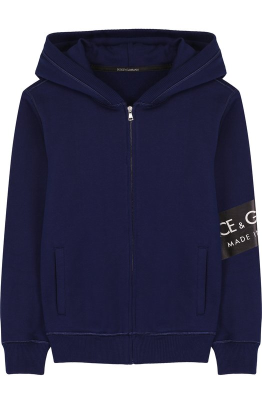 Купить Хлопковый кардиган на молнии с капюшоном Dolce & Gabbana, L4JW2L/G7MZ0/8-14, Италия, Синий, Хлопок: 100%;