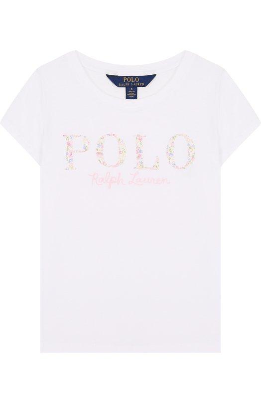Купить Хлопковая футболка с логотипом бренда Polo Ralph Lauren, 312688679, Китай, Белый, Хлопок: 100%;