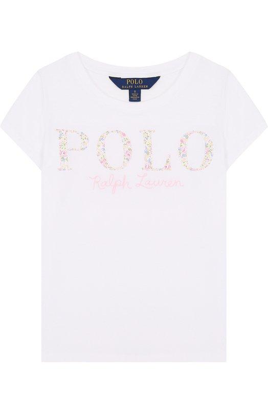 Купить Хлопковая футболка с логотипом бренда Polo Ralph Lauren, 313688679, Китай, Белый, Хлопок: 100%;