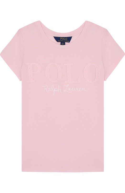 Купить Хлопковая футболка с логотипом бренда Polo Ralph Lauren, 313688679, Китай, Розовый, Хлопок: 100%;