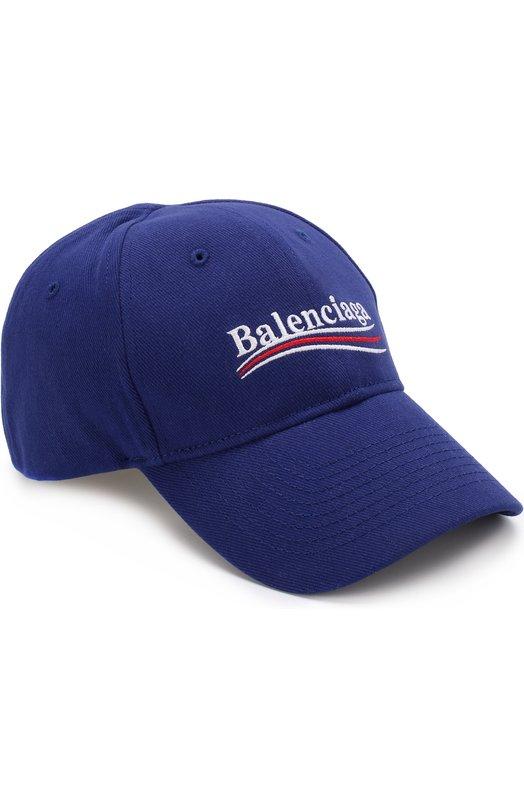 Купить Хлопковая бейсболка с логотипом бренда Balenciaga, 505985/410B7, Китай, Темно-синий, Хлопок: 100%;