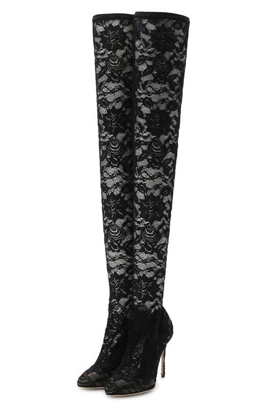 Кружевные ботфорты Coco на шпильке Dolce & Gabbana