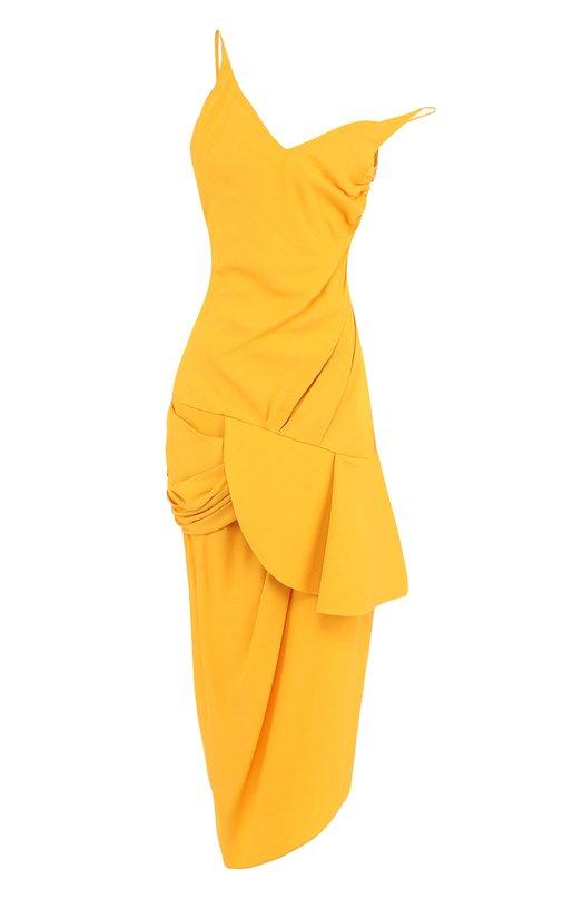 Купить Однотонное платье-миди асимметричного кроя Jacquemus, 181DR15, Болгария, Желтый, Вискоза: 56%; Ацетат: 44%; Подкладка-хлопок: 100%;