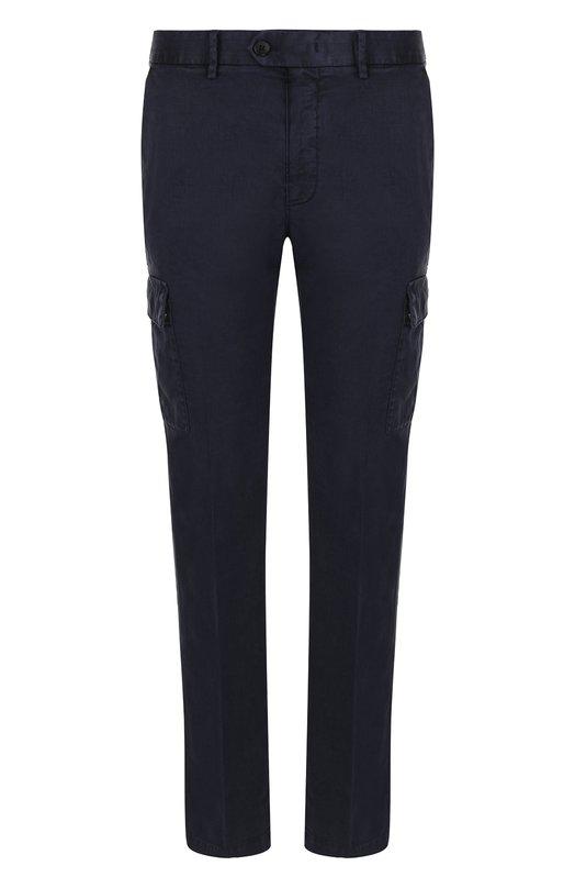 Купить Однотонные брюки из смеси льна и хлопка Ermenegildo Zegna, VP164/ZZ373, Румыния, Темно-синий, Лен: 65%; Хлопок: 33%; Эластан: 2%;