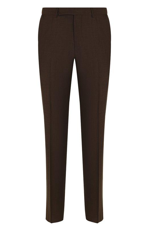 Купить Шерстяные брюки прямого кроя Ermenegildo Zegna, 311F06/75SB12, Португалия, Коричневый, Шерсть: 100%; Подкладка-вискоза: 100%;