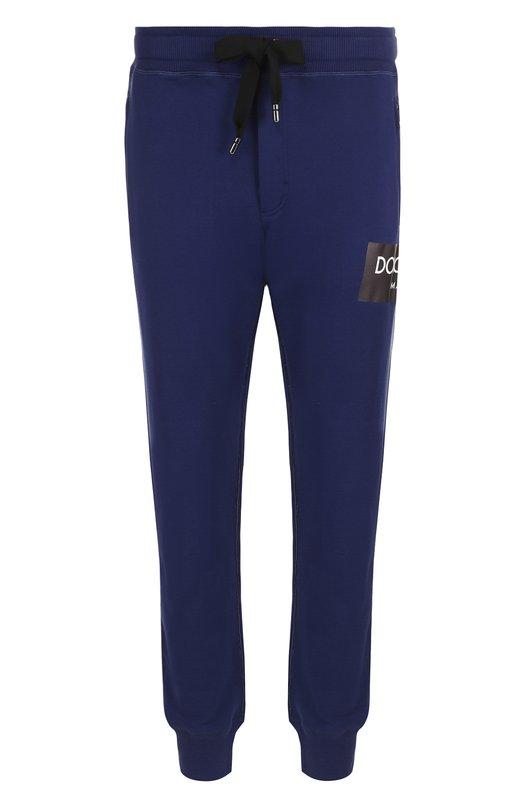 Купить Хлопковые джоггеры с логотипом бренда Dolce & Gabbana, GY1KAT/FU7DU, Италия, Синий, Хлопок: 100%;
