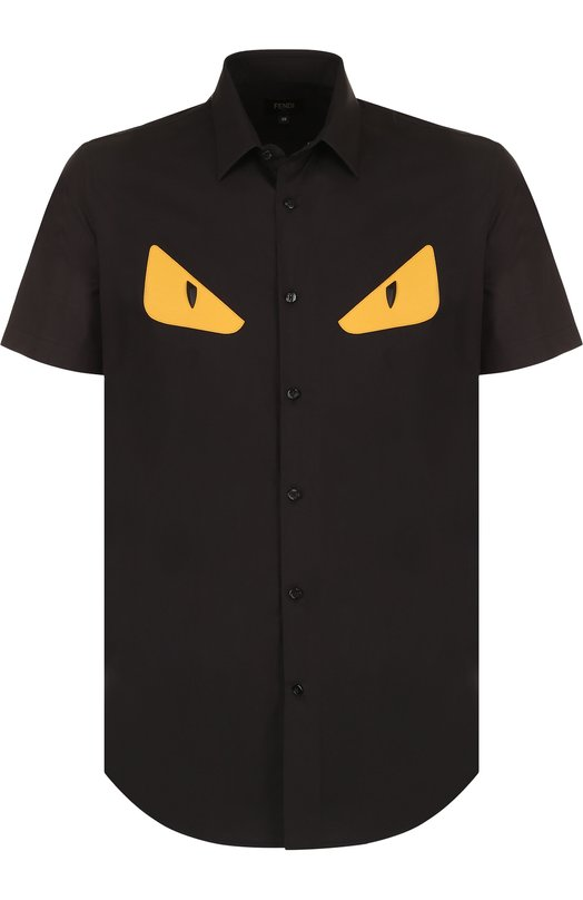 Купить Хлопковая рубашка с короткими рукавами Fendi, FS0736 A2EM, Италия, Черный, Хлопок: 100%;