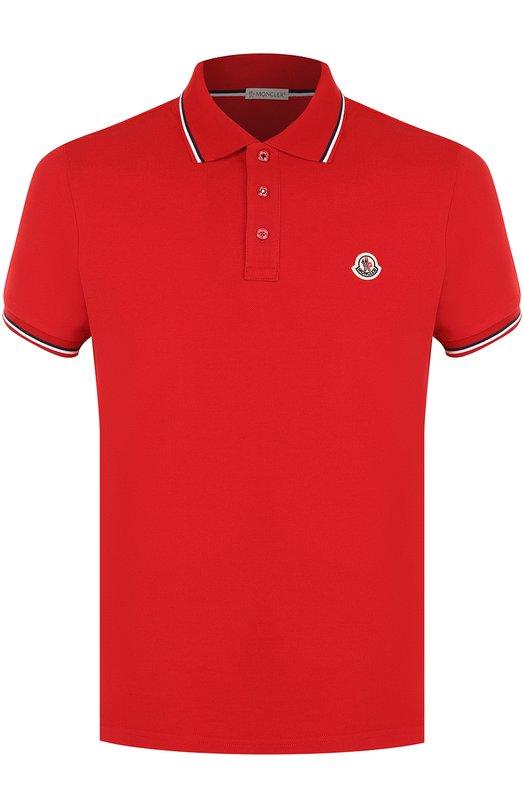 Купить Хлопковое поло с короткими рукавами Moncler, D1-091-83456-00-84556, Турция, Красный, Хлопок: 100%;