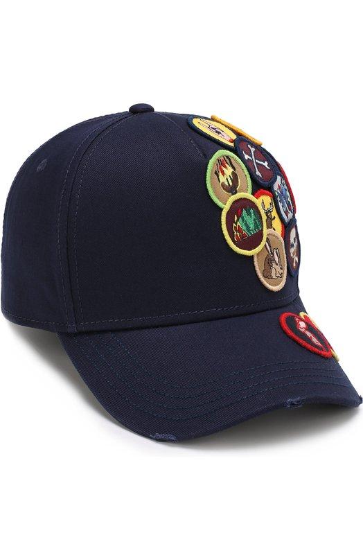 Купить Хлопковая бейсболка с нашивками Dsquared2, BCM0024 05C00001, Китай, Темно-синий, Хлопок: 100%;
