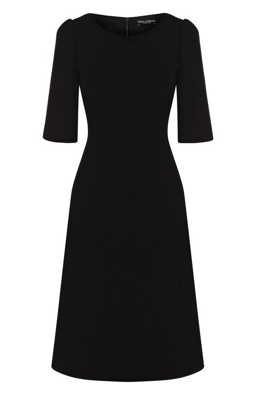 Купить Однотонное приталенное платье-миди с коротким рукавом Dolce & Gabbana, F68A2Z/FU2TZ, Италия, Черный, Подкладка-шелк: 94%; Подкладка-эластан: 6%; Шерсть: 100%;