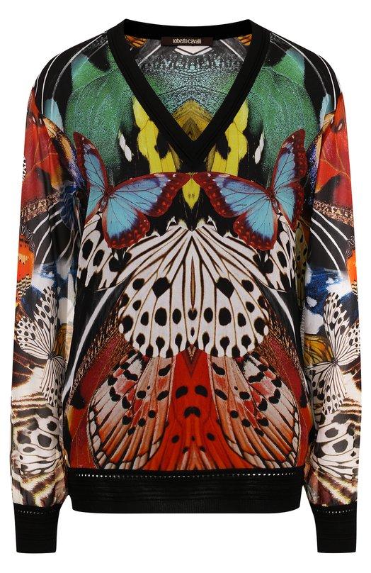 Купить Шелковый пуловер свободного кроя с принтом Roberto Cavalli, GQM645/BMG80, Италия, Разноцветный, Отделка-вискоза: 90%; Отделка-полиэстер: 7%; Отделка-полиамид: 3%; Шелк: 100%;