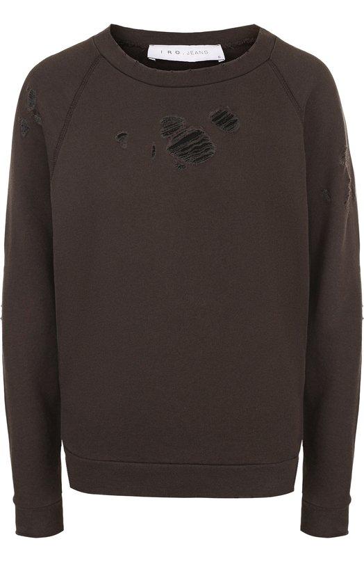 Купить Однотонный хлопковый свитшот с круглым вырезом Iro, 18SWP14UPRILE, Португалия, Хаки, Хлопок: 100%;
