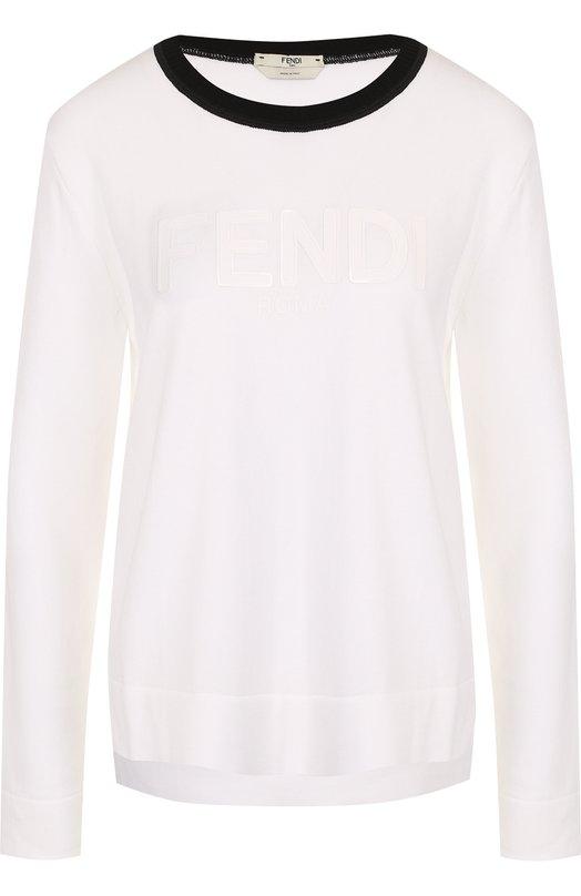 Купить Хлопковый пуловер с круглым вырезом Fendi, FAE130 A1IT, Италия, Белый, Хлопок: 100%;